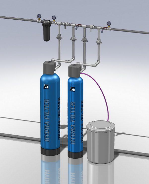 Водоподготовка для коттеджа  #16. 1100 л/час (2-3 открытых крана) Растворенное железо до 5 мг/л